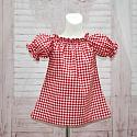 Red Gingham Short Sleeve Top