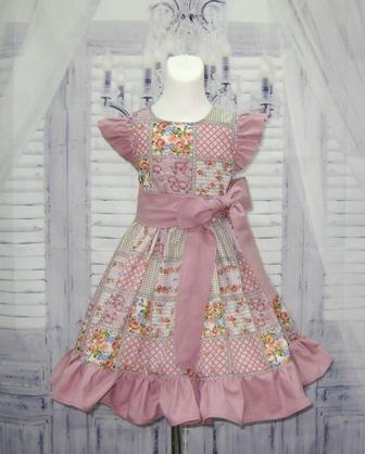 Pink Vintage Style Patchwork Floral Girl Dress