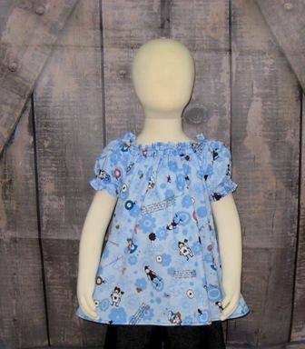 Blue Alice In Wonderland Peasant Top 12M To 7-halter dress,twirly,red,white,summer dress,disney dress, ruffle dress,retro,skirt,ooak,ooc,pageant dress,handmade,custom orders,blue,polka dots dress,bow dress,ruffle dress