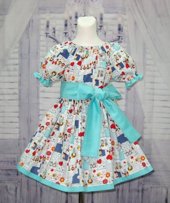 Aqua and Red Happy Smile Peasant Dress
