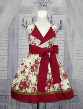 Vintage Style Burgundy Flowers Lapel Dress