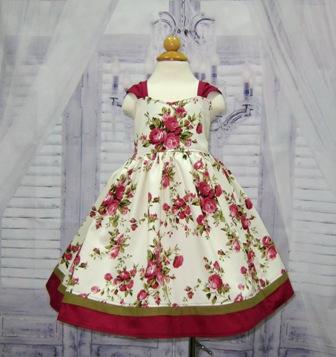 Vintage Style Burgundy Floral Girl Dress