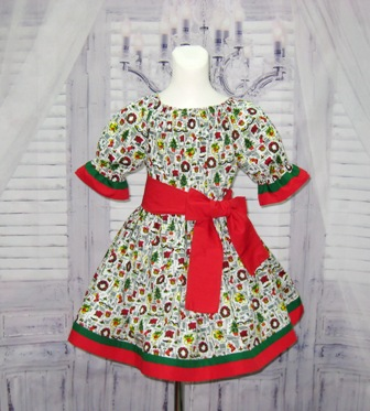 Red  Green and White Girl Chirstmas Dress