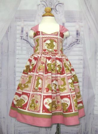 Country Style Teddy Bear Pink Dress