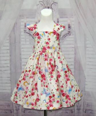 Flutter Sleeve Roses Dress