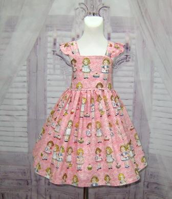 Paper Doll Flutter Sleeve Girl Pink Dress