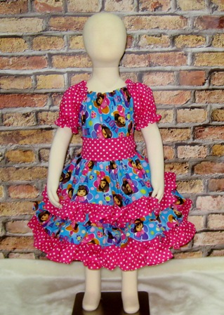 Dora The Explorer Dress-Cinderella dress.twirly skirt,disney dress,OOC,OOAK,ruffle dress,toddler dress,summer dress,flower girl dress,back to school,blue dress,blue outfit,infant dress,kid top,handmade girl dress,made to order dress,custom made kid clothes,red dress,pink,big bow,flutter sleeve,ruffle neck dress