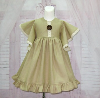 Vintage Style Angle Sleeve Linen Dress