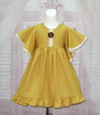 Honey Mustard Linen Girl Dress