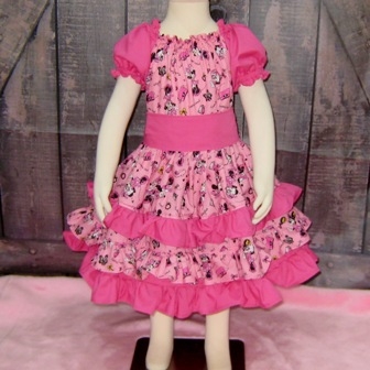 Minnie Mouse Triple Ruffle Peasant Dress-Cinderella dress.twirly skirt,disney dress,OOC,OOAK,ruffle dress,toddler dress,summer dress,flower girl dress,back to school,blue dress,blue outfit,infant dress,kid top,handmade girl dress,made to order dress,custom made kid clothes,red dress,pink,big bow,flutter sleeve,ruffle neck dress