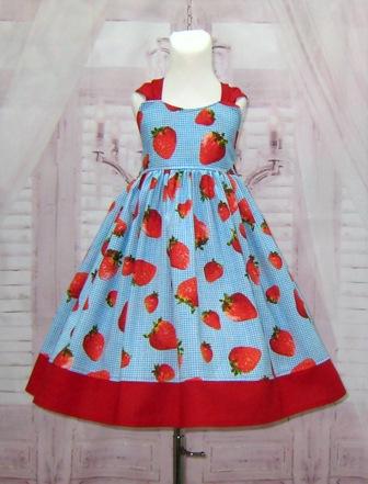 Blue Gingham Strawberry Girl Dress