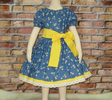 Denim Peasant Dress-Denim girl peasant dress, girl denim dress, country style dress, cowgirl dress, back to school dress, ruffle dress, church dress, toddler dress, infant dress, yellow dress, yellow bow, white lace, lace dress, birthday dress