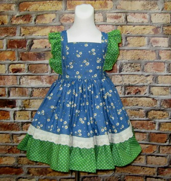 Green Polka Dots Denim Dress-denim country style dress, denim dress, girl denim dress, summer girl dress, church dress,birthday outfit, cowgirl dress, cowboy dress, western girl dress, western  dress, flower girl dress,back to school dress