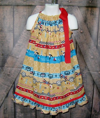 Traditional Nautical Pillowcase Dres-pillowcase dress, girls pillowcase dress, nautical dress, summer girl dress, infant dress, toddler dress, beach dress, party dress