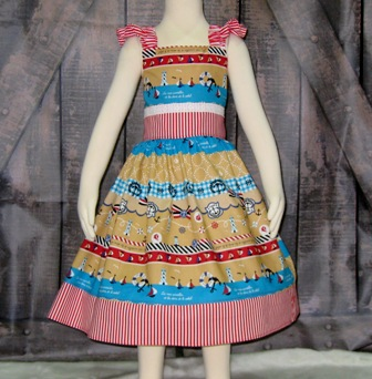 Nautical Dress-traditional nautical girl dress, nautical dress, nautical girl dress, summer dress, beach dress, back to school dress, toddler dress, church dress, infant dress, red girl dress, anchor dress, Japanese cotton fabric