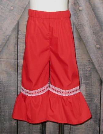 Girl Ruffle Red Pant