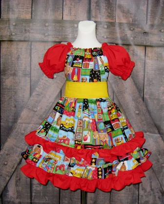 Back to School Triple Ruffle Dress-back to school dress, ruffle dress, twirly dress, fall dress, winter dress, spring dress, summer dress, red girl dress, birthday girl dress, yellow girl dress, church dress