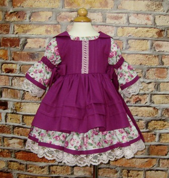 Floral Dress and Purple Pinafore-vintage style girl dress, lilac dress, ruffle dress, twirly skirt, toddler dress, fall dress, winter dress, thanksgiving dress, summer dress, back to school, Easter dress, flower girl dress, little girl dress, retro dress, Western  dress