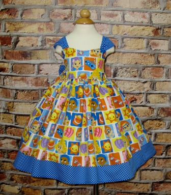 Bubble Guppies Dress-Bubble Guppies Dress, girls dresses, cartoon dress, church dress, blue girl dress, toddler dress, Easter dress,Fall dress, winter dress, summer girl dress, infant dress, twirly skirt, back to school dress, Blue polka dots dress, birthday girl dress, retro style blue dress
