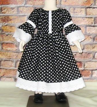 Black and White Vintage Style Girl Dress-girl dress, vintage style girl dress, lace dress, black dress, black and white dress, polka dots girl dress, girls dresses, fall dress, winter dress, summer dress, toddler dress, infant dress, Special Occasion