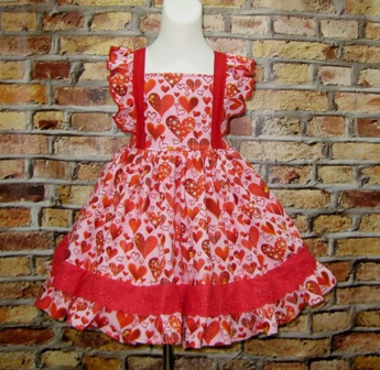 Flutter Sleeves Red Heart Ruffle Dress,