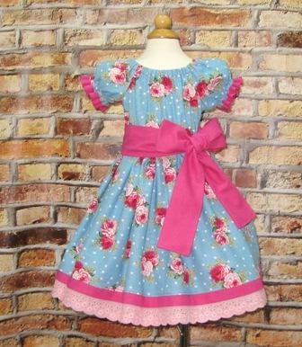 Pink Roses Girl Blue Dress
