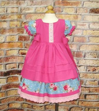 Blue Dress and Hot Pink Pinafore Set