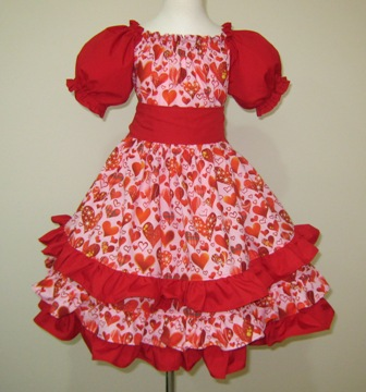Pink And Red Triple Ruffle Valentine Dress