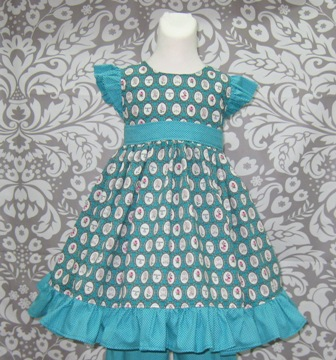 Aqua Princess and Cats Flutter Sleeve Dress