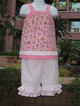 BOUTIQUE STYLE ROMANTIC PINK CATS AND HOT PINK POLKA DOTS RUFFLES PANTS
