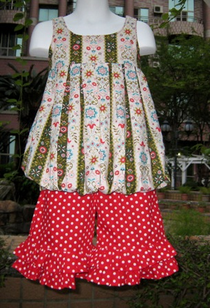 SWEET BUBBLE STYLE TOP AND A RED POLKA DOTS RUFFLES PANT