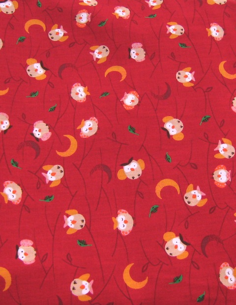 RED CUTE OWLS COTTON JAPANSE FABRIC-supplies,comercial,sewing,fabric,pattern,handmade,chindren custom,dress,pants,applique,vintage,tutorial knitting,neddles,owls,japanese,kawaii,fabric,cotton fabric,cotton,ribbon,bows,hair clips,hair accessories,toddles,baby shower,girl,summer,tunic,wallet,purse,buttons,thread,international shippinf,free shipping,flat rate