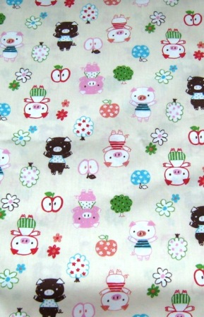 PIG PIGGY COTTON JAPANESE FABRIC-supplies,comercial,sewing,fabric,pattern,handmade,chindren custom,dress,pants,applique,vintage,tutorial knitting,neddles,owls,japanese,kawaii,fabric,cotton fabric,cotton,ribbon,bows,hair clips,hair accessories,toddles,baby shower,girl,summer,tunic,wallet,purse,buttons,thread,international shippinf,free shipping,flat rate