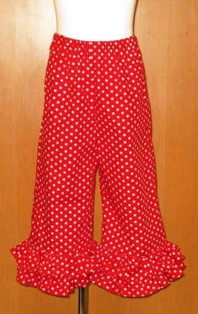 Red Polka Dots Double Ruffle Pant