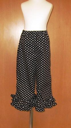 Black and White Polka Dots Ruffle Pant