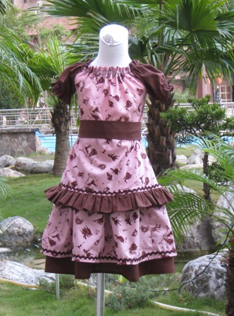 CUSTOM BOUTIQUE PEASANT TOP AND DOUBLE LAYER CINDERELLA FABRIC SKIRT