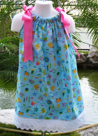 CUSTOM BOUTIQUE SEA LIFE PILLOWCASE DRESS WITH LACE