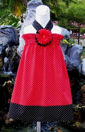 CUSTOM BOUTIQUE RED AND BLACK POLKA DOTS HALTER DRESS
