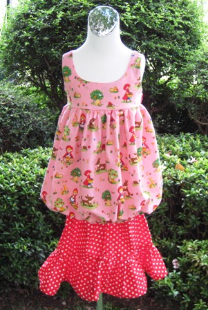 LITTLE RED RIDING HOOD BUBBLE STYLE TOP AND A RED POLKA