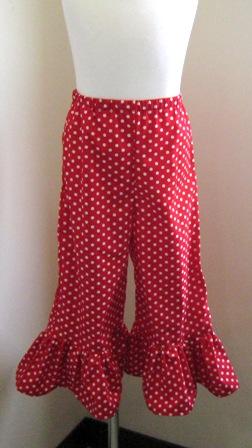 Red Polka Dots Ruffle Pant