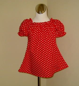 CUSTOM BOUTIQUE RED POLKA DOTS PEASANT TOP 12M TO 7