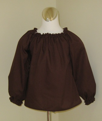 CUSTOM BOUTIQUE BROWN LONG SLEEVE PEASANT TOP 12M TO 7