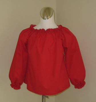 CUSTOM BOUTIQUE RED LONG SLEEVE PEASANT TOP 12M TO 7