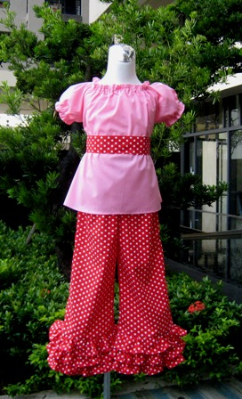 PAGEANT CUSTOM BOUTIQUE PINK PEASANT TOP AND PANT SET