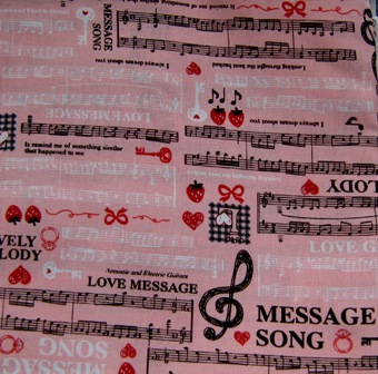 PINK MUSICAL NOTES JAPANESE COTTON FABRIC-supplies,comercial,sewing,fabric,pattern,handmade,chilndren custom,dress,pants,applique,vintage,tutorial knitting,neddles,owls,japanese,kawaii,fabric,cotton fabric,cotton,ribbon,bows,hair clips,hair accessories,toddles,baby shower,girl,summer,tunic,wallet,purse,buttons,thread,international shipping,free shipping,flat rate