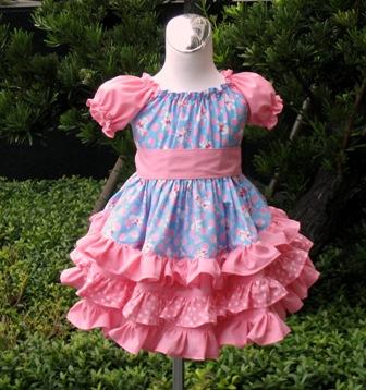 Custom Boutique Triple Ruffles Blue Pink Peasant Dress