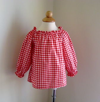 Custom Boutique Red Gingham Long Sleeve Pesant Top 12M To 7