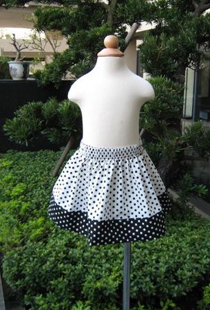 Custom Boutique White And Black Polka Dots Skirt