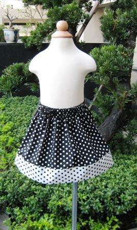 Custom Boutique Black and White Polka Dots Skirt