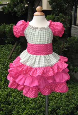 Custom Boutique Triple Ruffles Green And Hot Pink Peasant Dress